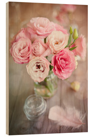 Hout print  Romantic rose bouquet with feather