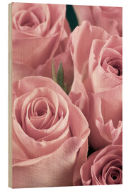 Hout print  Bunch of pale pink roses