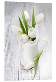 Acrylglas print  White tulips on whitewashed wood