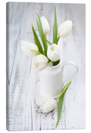 Canvas print  White tulips on whitewashed wood