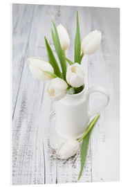 PVC print  White tulips on whitewashed wood