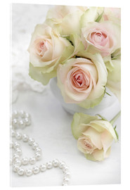 Acrylglas print  Pastel-colored roses with pearls