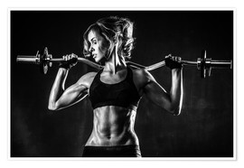 Premium poster  Sportswoman with a barbell