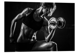 PVC print  Sportswoman with dumbbells