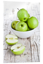 Acrylglas print  Green apples in a bowl