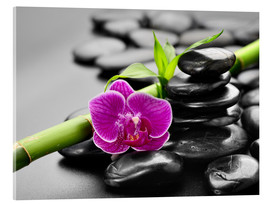 Acrylglas print  Basalt stones, bamboo and orchid