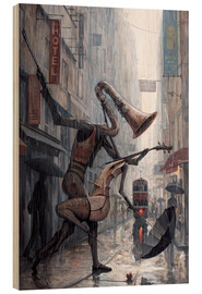 Hout print  Life is a dance in the rain - Adrian Borda