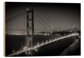 Hout print  Evening Cityscape of Golden Gate Bridge - Melanie Viola