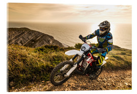 Acrylglas print  Enduro rider on a coastal road