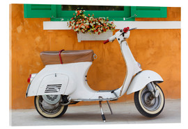 Acrylglas print  White scooter in front of a window