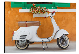 Aluminium print  White scooter in front of a window