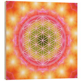 Hout print  Flower of life - heart energy - Dolphins DreamDesign