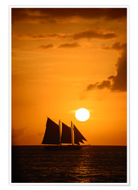 Premium poster Sailing ship and sunset, Key West