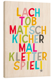 Hout print  Laugh and play (German) - Ohkimiko