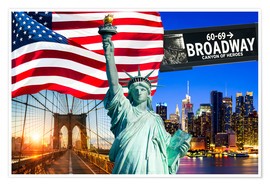 Premium poster New York City Photo Collage with Statue of Liberty