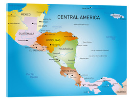 Acrylglas print  Central America - Map