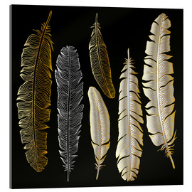 Acrylglas print  Feathers in Gold and Silver