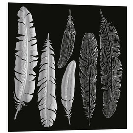 PVC print  Feathers in silver