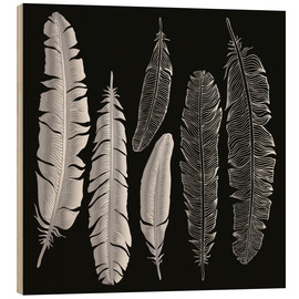 Hout print  Feathers in silver