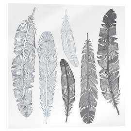 Acrylglas print  Feathers on white