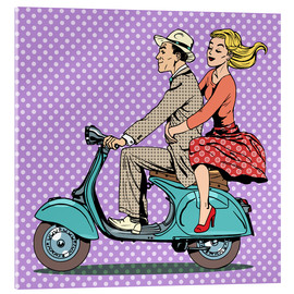 Acrylglas print  Couple on a scooter