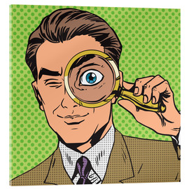 Acrylglas print  Detective with magnifying glass