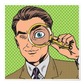 Premium poster Detective with magnifying glass
