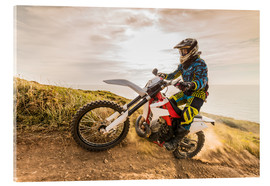 Acrylglas print  Enduro rider on the coast