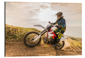 Aluminium print  Enduro rider on the coast