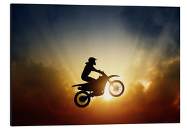 Aluminium print  Biker jumping at sunset