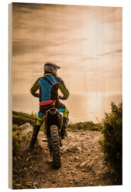 Hout print  Enduro racer on the coast