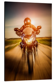 Aluminium print  Biker racing on the road