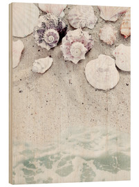 Hout print  Sea Beach with Shells