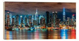 Hout print  Midtown Skyline by Night, New York - Sascha Kilmer