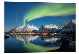 PVC print  Northern lights and stars light up snowy peaks - Roberto Sysa Moiola