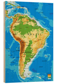 Hout print  South America - Topographic Map