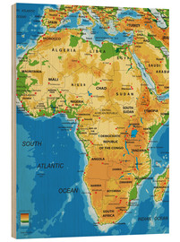 Hout print  Africa - Topographic Map