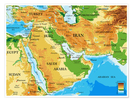 Premium poster  Middle East - Topographic Map