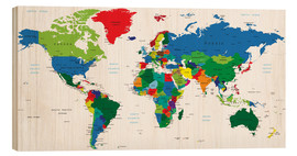 Hout print  World political map (2006)