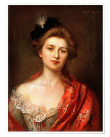Premium poster Woman in a red embroidered shawl