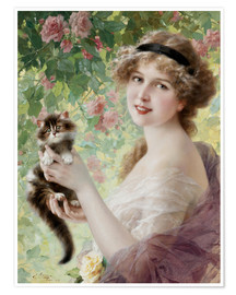 Premium poster Young girl with a kitten