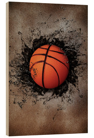 Hout print  Stone wall and basketball