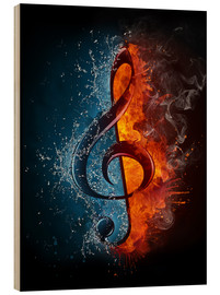Hout print  Fire and water music