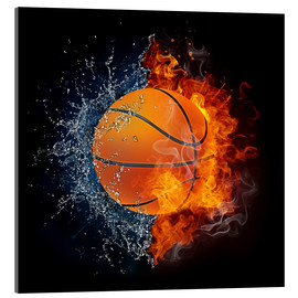 Acrylglas print  Basketball in the battle of the elements
