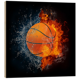 Hout print  Basketball in the battle of the elements