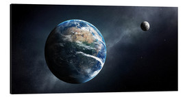 Aluminium print  Earth and moon from outer space - Johan Swanepoel