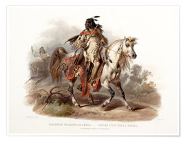 Premium poster A Blackfoot indian on horseback