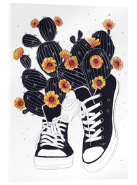 Acrylglas print  Sneakers with flowering cactuses - Valeriya Korenkova