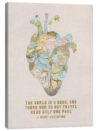 Canvas print  A Travelers Heart + Quote - Bianca Green