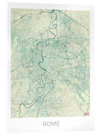 Acrylglas print  Rome Map Blue - Hubert Roguski